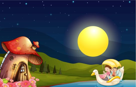 Children going to the mushroom house