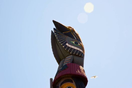 Detail of Knowledge Totem in Victoria B.C.