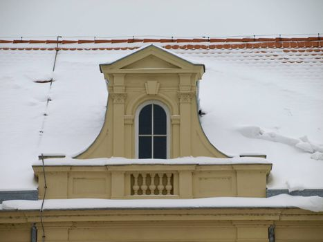 Snowy roof of the church