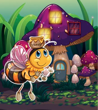 A flying bee near the enchanted mushroom house