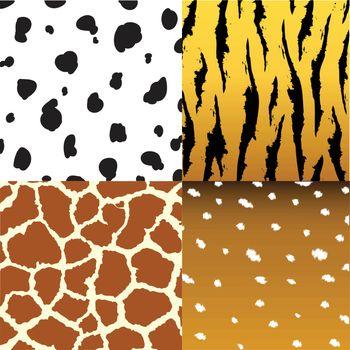 Seamless animal skin texture fabric set