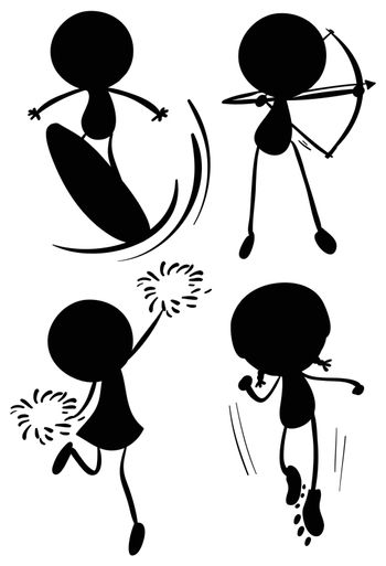 Illustration of the shaded drawings of people in different sports on a white background