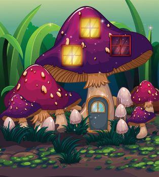 A purple mushroom house
