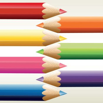 Seven colorful pointed pencils