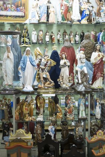 BELO HORIZONTE, BRAZIL - JULY 28: Religious icons wrapped in pla