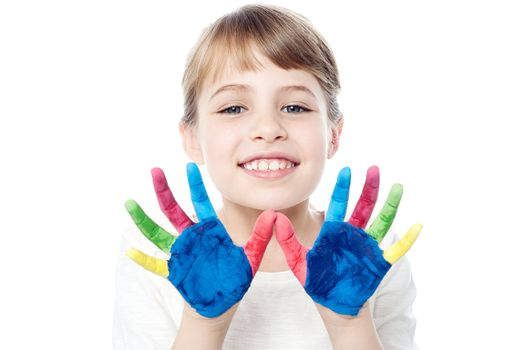 Cute girl with hands painted