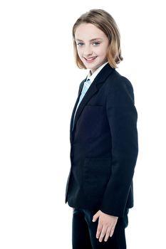Smiling teenage business executive