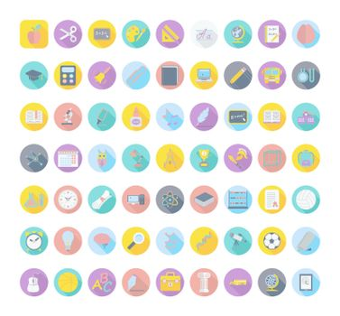 Education color flat icons. Vector illustration. EPS 10