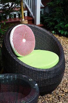 Modern chair furniture in a backyard