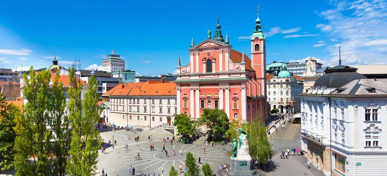 Preseren square, Ljubljana, capital of Slovenia.
