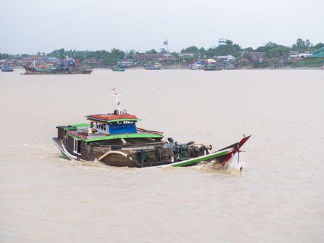 Cargo vessel on Yangon River