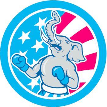 Republican Elephant Boxer Mascot Circle Cartoon