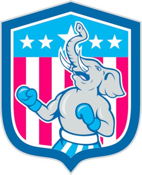 Republican Elephant Boxer Mascot Shield Cartoon