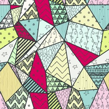 Geometric Hand-drawn Abstract Seamless Background Pattern with Polygons and Cute Patterns Inside Them. Vector Illustration. Pattern Swatch is Available