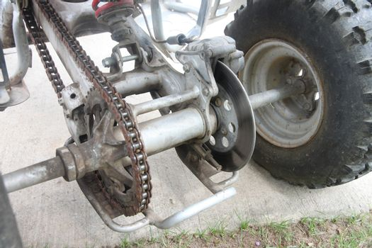 gear and chains system of wheel in ATV car.