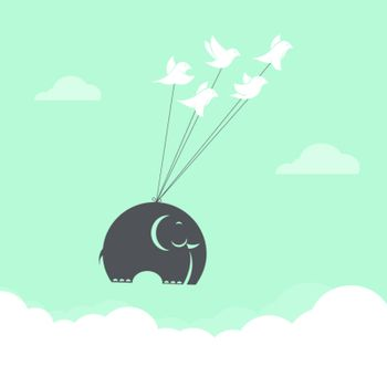 Vector image of bird and elephant in the sky, Represents the uni