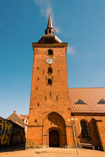 Big church tower with a clock