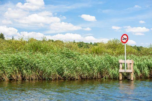 No boating sign at a lake