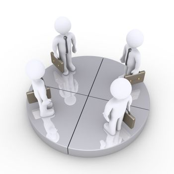 Four 3d businessmen are standing on equal grey pie chart slices