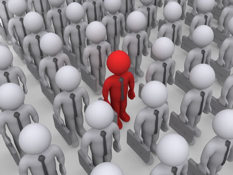 3d different colored businessman amongst a crowd of others