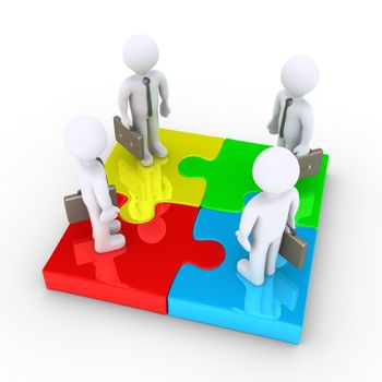 Four 3d businessmen are standing on different colored puzzle pieces