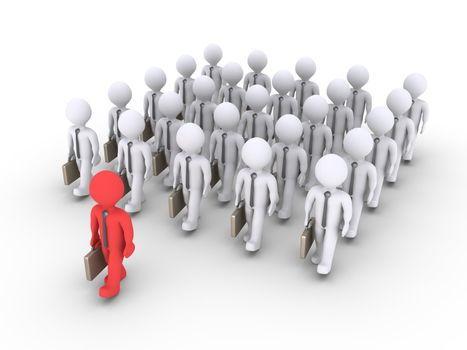 A group of 3d businessmen are walking and in front is the leader