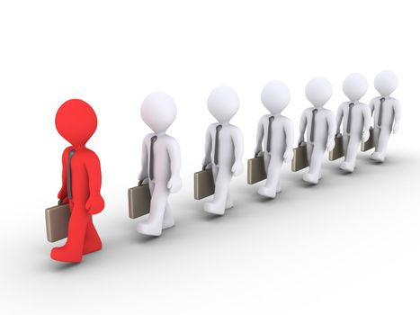 3d businessmen are walking in a row and in front is the leader