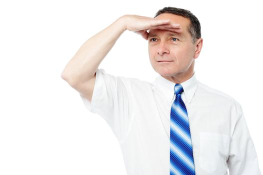 Corporate man searching for something