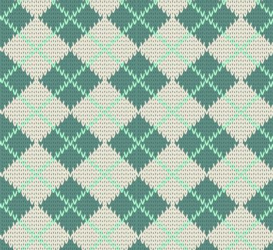 Seamless Rhombus Blue Color Knitted Pattern. Vector