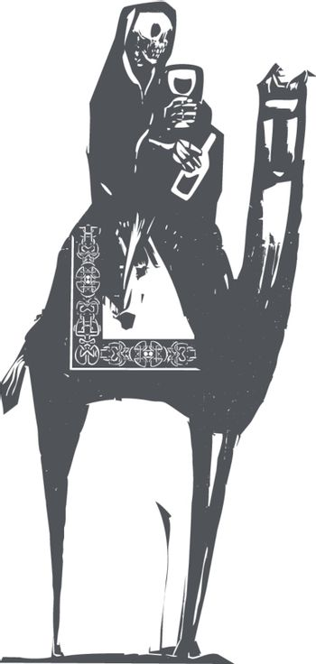 Woodcut style image of death drinking wine and riding a camel.