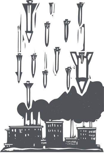 Woodcut style image of missiles falling on a factory