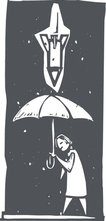 Woodcut style image of a missile or bomb raining down from a stormy sky over a person with an umbrella