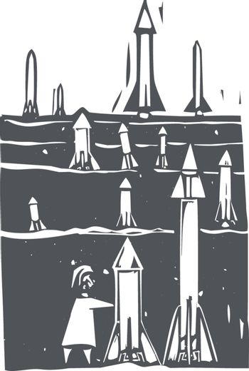 Woodcut style image of field of missiles being grown or set up.