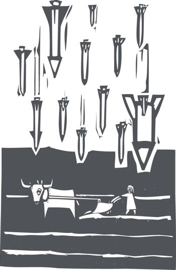Woodcut style image of missiles falling on a farm