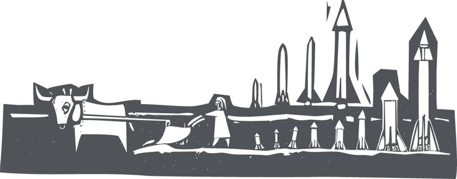 Woodcut style image of missiles being set up in a field.