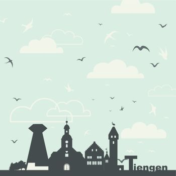 Birds in the sky over a city. A vector illustration