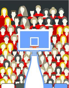 Spectators on a basketball platform. A vector illustration
