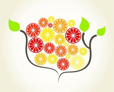 Orange on a tree branch. A vector illustration