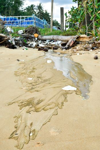 Spreading pollutions on the beach