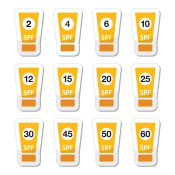 Sun cream, sunblock with factor or spv icons set