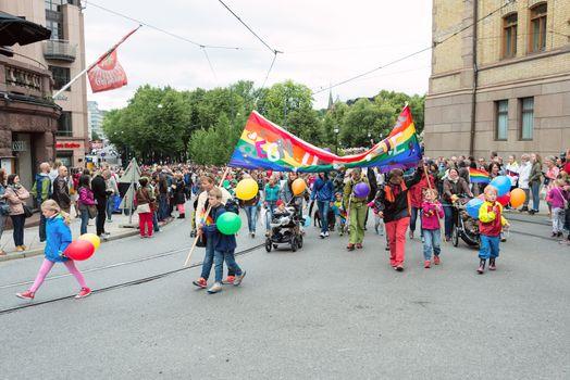 Europride parade in Oslo families