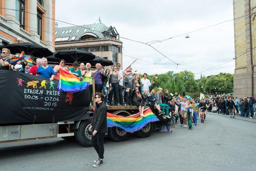 Europride parade in Oslo from bergen
