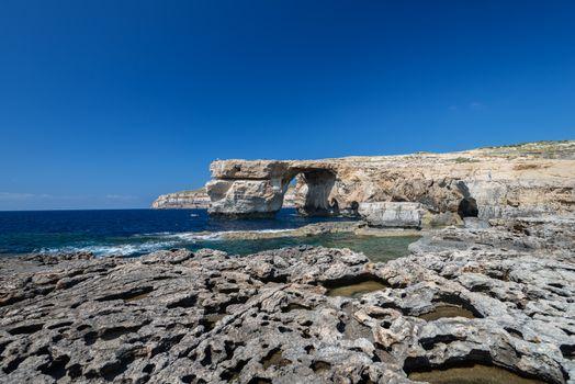 Azure Window natural arch on Gozo island panoramic