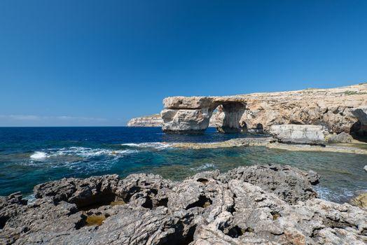 Azure Window natural arch on Gozo island Malta