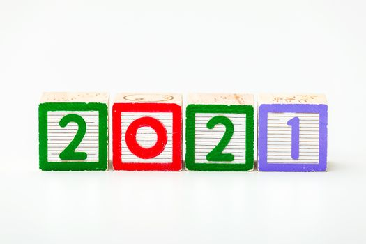 Wooden block for year 2021