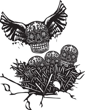 Woodcut style image of Mexican skulls with wings in a birds nest.