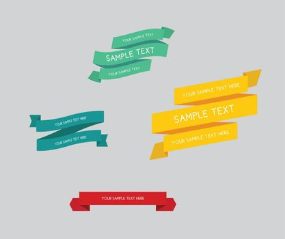 A set of ribbons with sample text