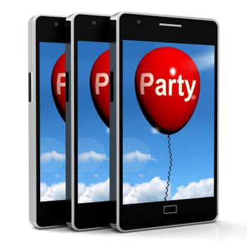 Party Balloon Phone Representing Parties Events and Celebrations