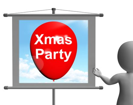 Xmas Party Sign Showing Christmas Festivity and Celebration