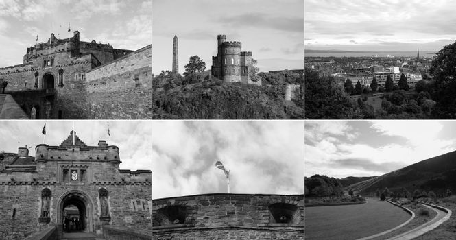 Retro look Edinburgh landmarks